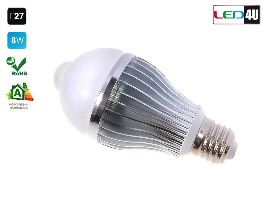 led birne lampe mit bewegungsmelder pir e27 led4u warm. Black Bedroom Furniture Sets. Home Design Ideas