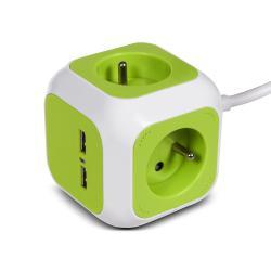 MagicCube Vierfachsteckdose, 2 USB-Eingänge 1,4 m GreenBlue GB118 Magic Cube Cube Verlängerungskabel mit 4 Steckdosen