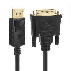 Display Port (DP) auf DVI 4K*2K/30Hz Verbindungskabel mit vergoldeten Anschlüssen 1,8m Schwarz MCTV-715
